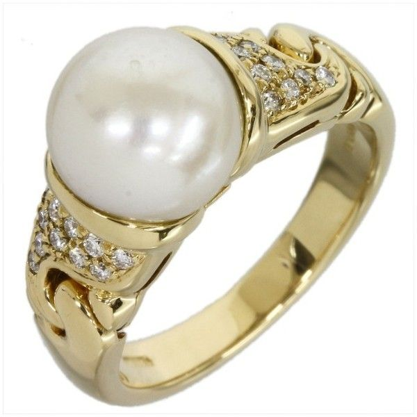 preowned bvlgari bulgari 18k yellow gold pearl and diamond ring size