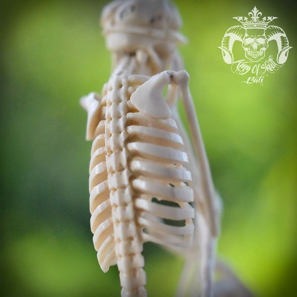 Very Detail Hand Carved Deer Antler Skeleton sit and daydream With Wooden Base