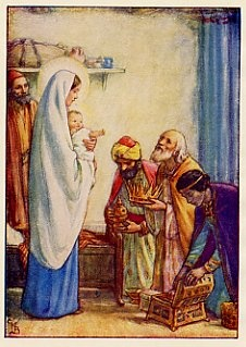 Mary with Baby Jesus and 3 Kings by Cicely Mary Barker