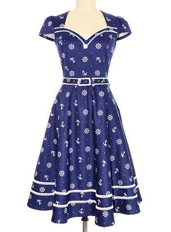1940s day dress: Cast Away Nautical Navy Flared Retro Dress  AT vintagedancer.com