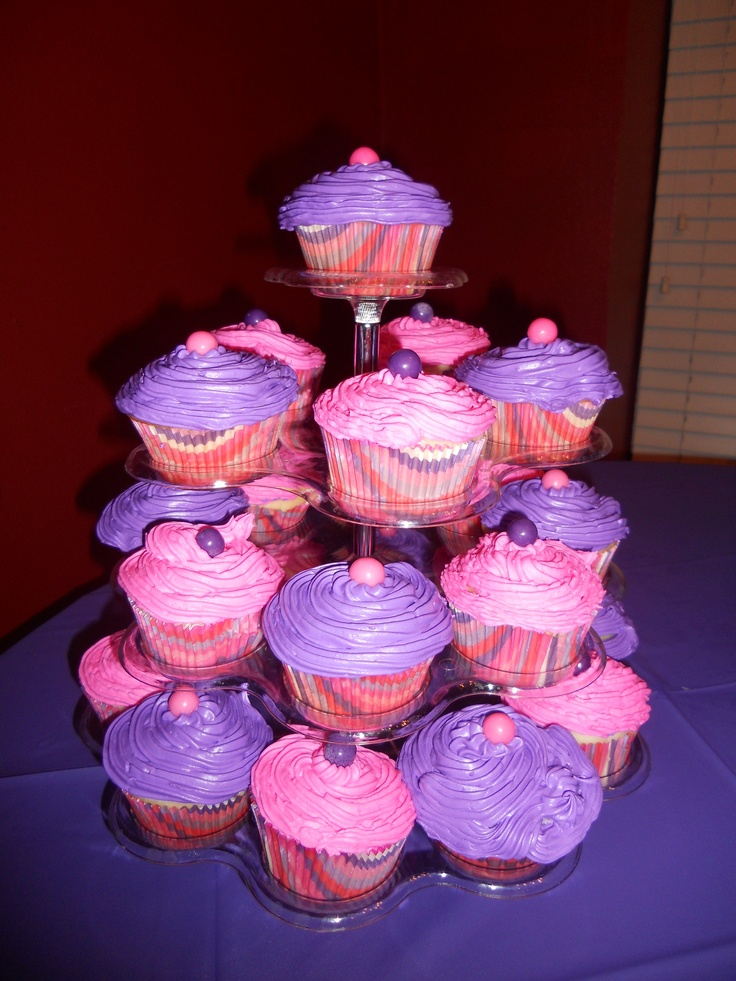 pink and purple cupcakes ideas for aesas 2nd birthday