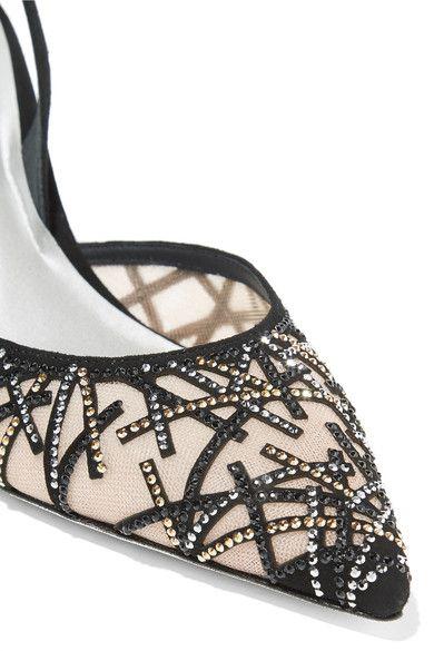 René Caovilla - Crystal-embellished Suede And Mesh Pumps - Black