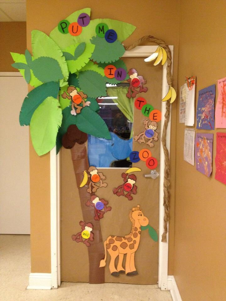 Dr seuss inspired put me in the zoo preschool door for Nursery class door decoration