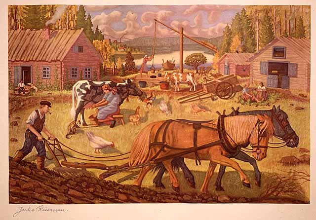 Finnish Farmstead.  Creator: Juho Rissanen (1873-1950)  Art Collection, Photo-mechanical reproduction, 1944  Visual Resources Database  Minnesota Historical Society