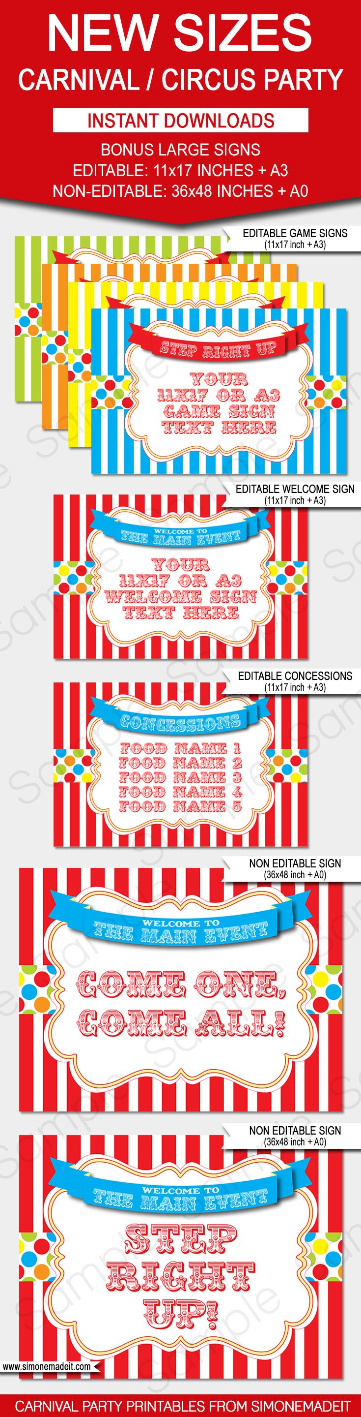 Carnival Signs | Circus Signs | Circus Theme Party | Carnival Theme Party | Welcome Sign | Concessions Sign | Game Signs | Party Decorations | via SIMONEmadeit.com