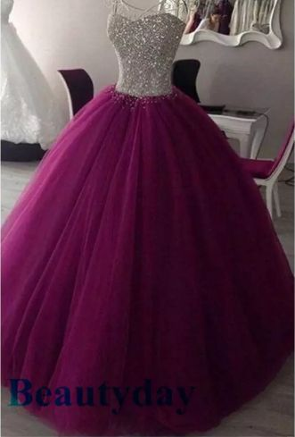 Purple Quinceanera Dresses 2019 Modest Real Image Sweet 16 Prom Birthday Party Ball Gown Debutante Gowns Full Beaded Top Vestidos De 15
