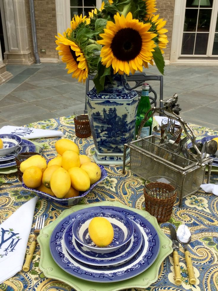 oh so french table setting, tablescape sunflowers, lemons - The Enchanted Home