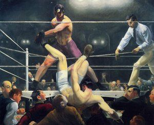 "Dempsey and Firpo by George Bellows, 1924, Whitney Museum of American Art. George Wesley Bellows was an American realist painter, known for his bold depictions of urban life in New York City, becoming, according to the Columbus Museum of Art, ""the most acclaimed American artist of his generation""."