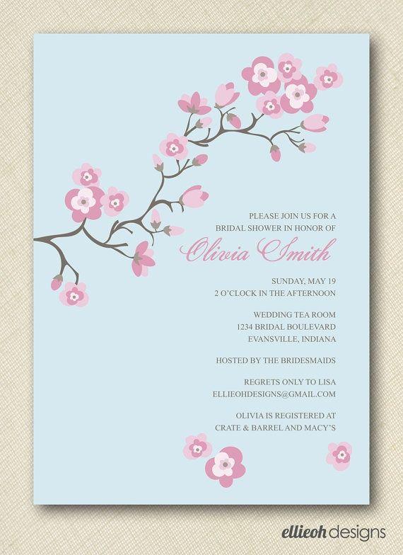 cherry blossom bridal shower invite
