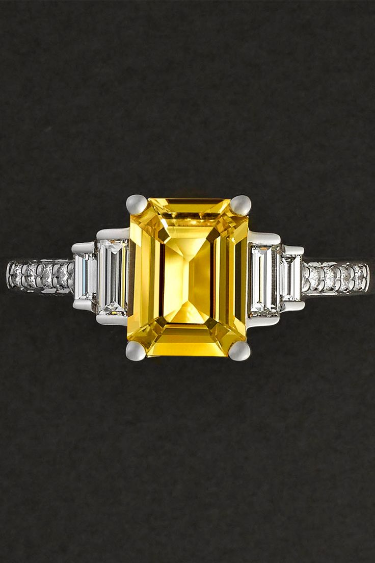 The perfect symbol of your love. For now and forever. Get inspired by this gorgeous Rare Pink ring - an emerald-cut yellow sapphire with diamond baguette side stones and bead-set white diamond band.