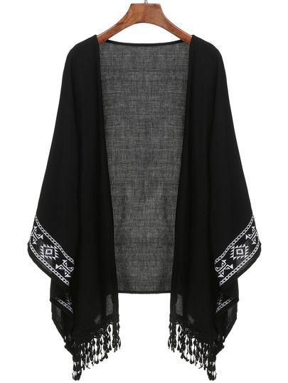 Black Aztec Print Fringe Kimono -SheIn(Sheinside) Mobile Site