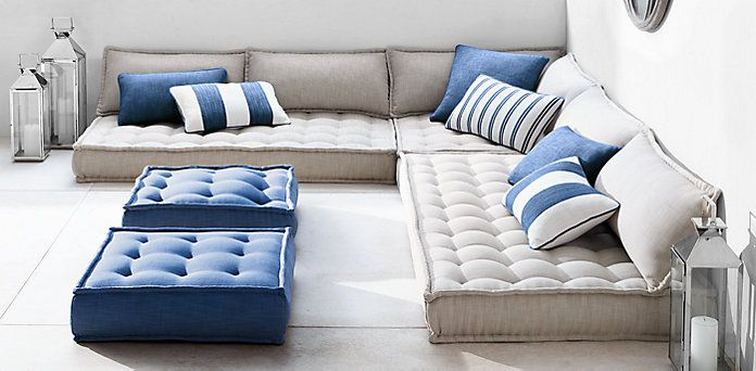 Perennials® TUFTED French Floor OUTDOOR Cushions | Restoration Hardware -- quick dry foam, all weather Perennials and Sunbrella fabric -- These could be custom made at Canal Latex.  LOVE the tufting. Love the long pillow backs. Shown here in neutrals, but the fabrics come in beautiful jewel tones too. See LOFT book for inspiration. Also could be paired with outdoor rug to complete the Moroccan vibe (and cover concrete pavers).