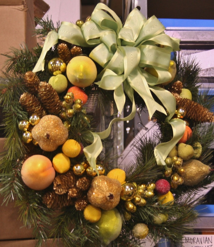 Wreath with fruit and ornaments wreaths all seasons pinterest