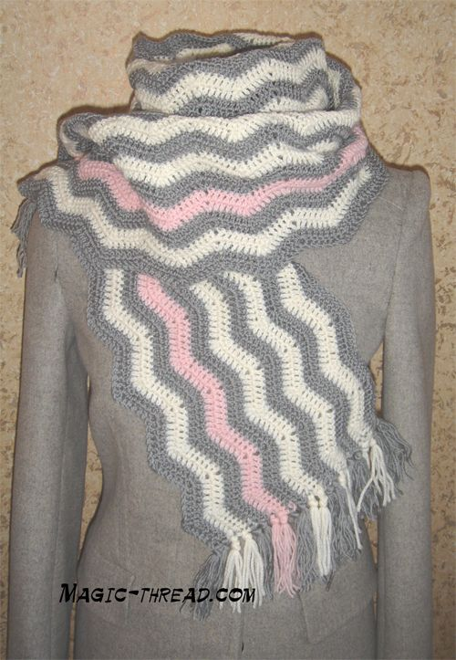 Crochet Scarf | Free patterns. Instead of pink I'm thinking a yellow accent and a little thinner @Liz Mester Mester Mester Steele