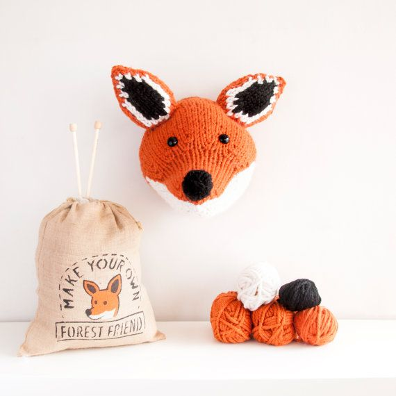 Faux Fox Knitting Kit - Make Your Own Forest Friend - DIY Taxidermy Trophy Head Pattern