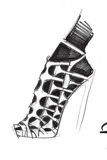 Shoe Sketch - Pierre Hardy footwear illustration; fashion drawing