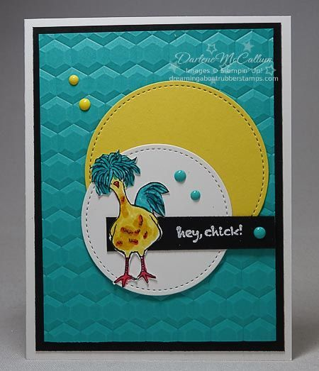handmade greeting card: Bermuda Bay Chick ... great color combo with deep aqua and yellow ... perfefect for the fluff-topped chicken ... great depth with the hexagon embossing folder ... Stampin' Up!