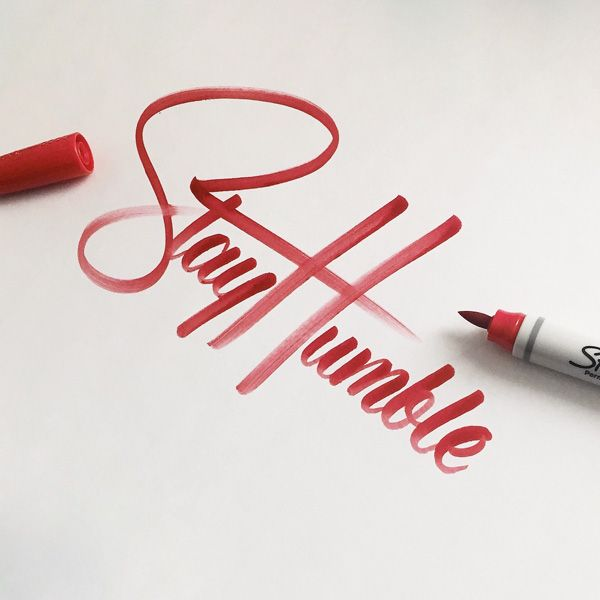 """inabrush: """"Lettering by Colin Tierney Medium used: Sharpie Brush Tip Permanent Marker - Red """""""