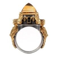 Metal Couture Locking Citrine Ring
