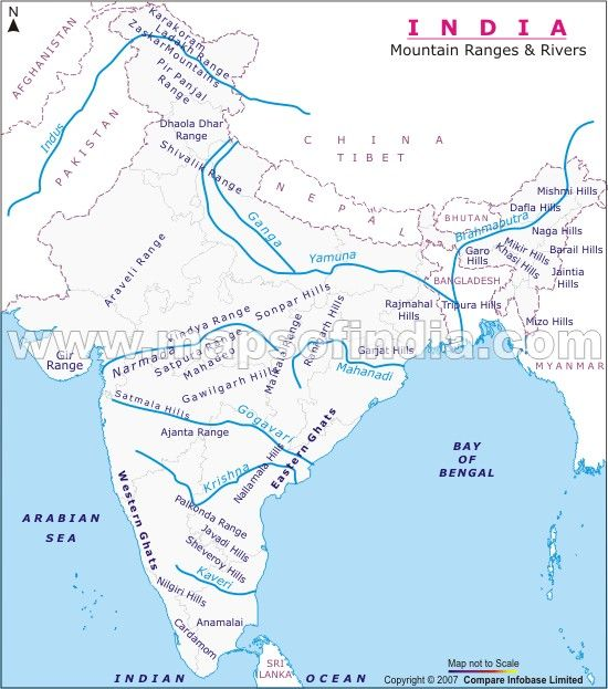 The map showing hills and rivers.