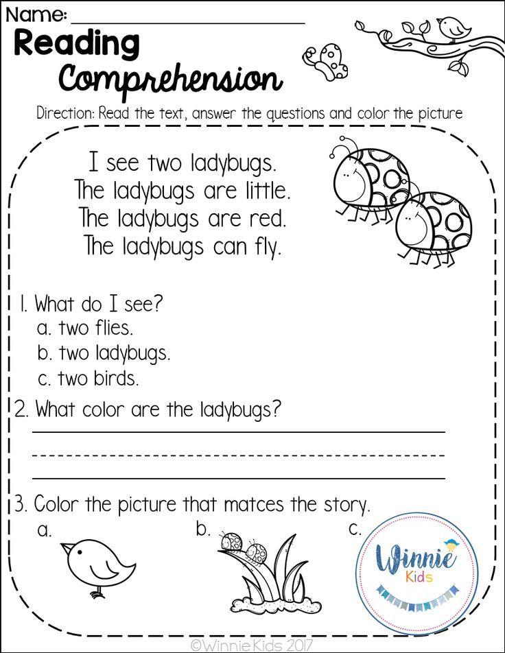 Kindergarten Reading Comprehension Passages Is A Set Of 20 Spring Themed Reading Comprehension Kindergarten Kindergarten Reading Reading Comprehension Passages Spring comprehension worksheets