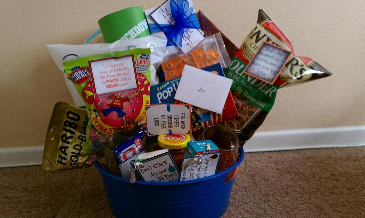 Week One Football Gift basket: chips and salsa, pretzels, football napkins/plates, football coozie, microwave popcorn, football glasses, football platter, a Crunch bar (its CRUNCH time), a Snickers bar (for when others snicker at your loss)...and other random stuff. Made by me!