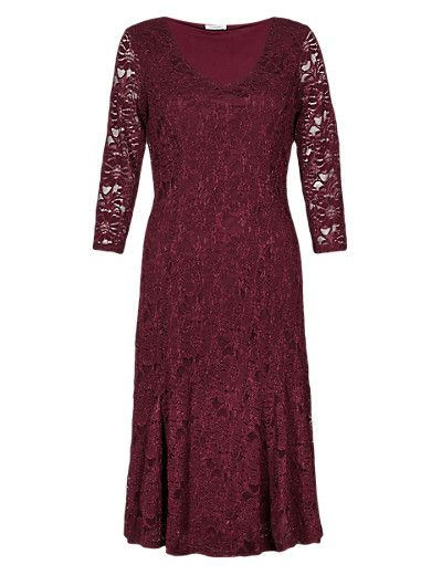 Floral Lace Fit & Flare Dress | M&S