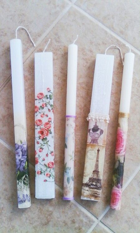Decoupage Greek Easter candles