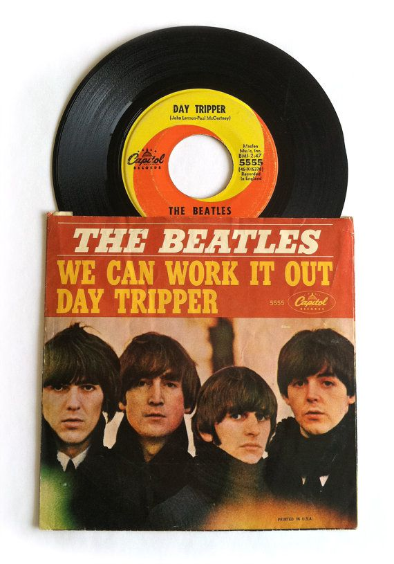 1960's Beatles 45 Record with Sleeve Day by RedRavenCollectibles, $40.00