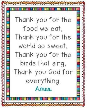 Thank You for the Food We Eat Poster. Comes in JPEG for large posters and a PDF to print from your desktop. Prayer, Blessing, Bedtime, for Kids, for Children, Sunday School.