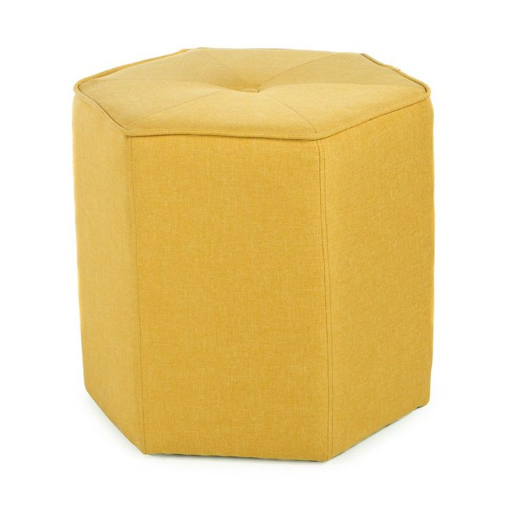 Belham Living Hadley Hexagon Ottoman Mustard - TN-5038W-YELLOW
