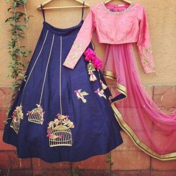 The poly silk lehenga is available in beautiful combination of pink and blue. Buy this designer lehenga now. #unfoldethnicfashion #casualwear #indianwear