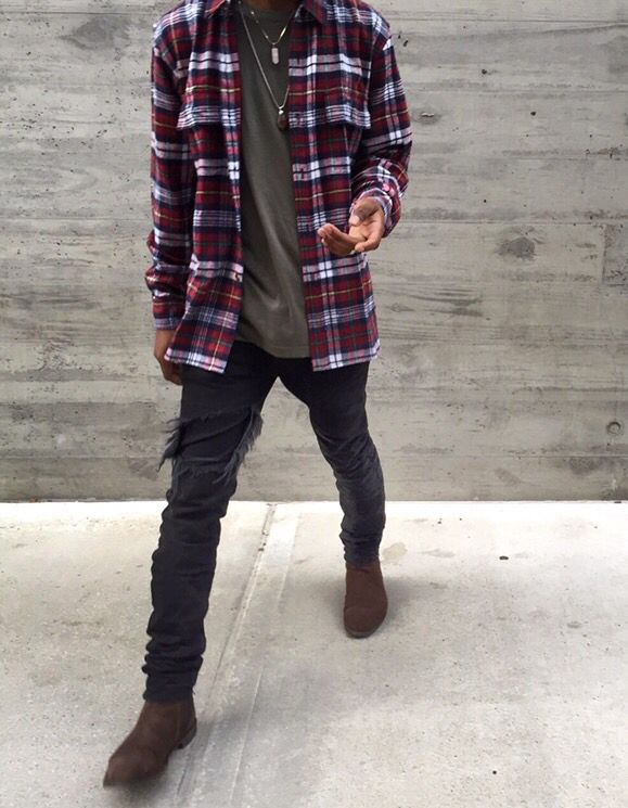 Mens Red And Black Checkered Flannel Shirt
