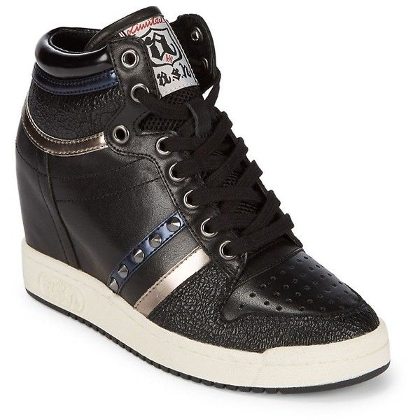 Ash Women's Studded Leather Wedge Sneakers - Size 39 ($130) ❤ liked on Polyvore featuring shoes, sneakers, no color, hidden wedge sneakers, studded wedge sneakers, lace up wedge sneakers, round toe sneakers and lace up shoes