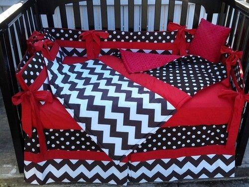 zebra and minnie mouse nursery | BROWN WHITE POLKA DOT CHEVRON w/ Red Crib Bedding Set w/ Minky Dot ...