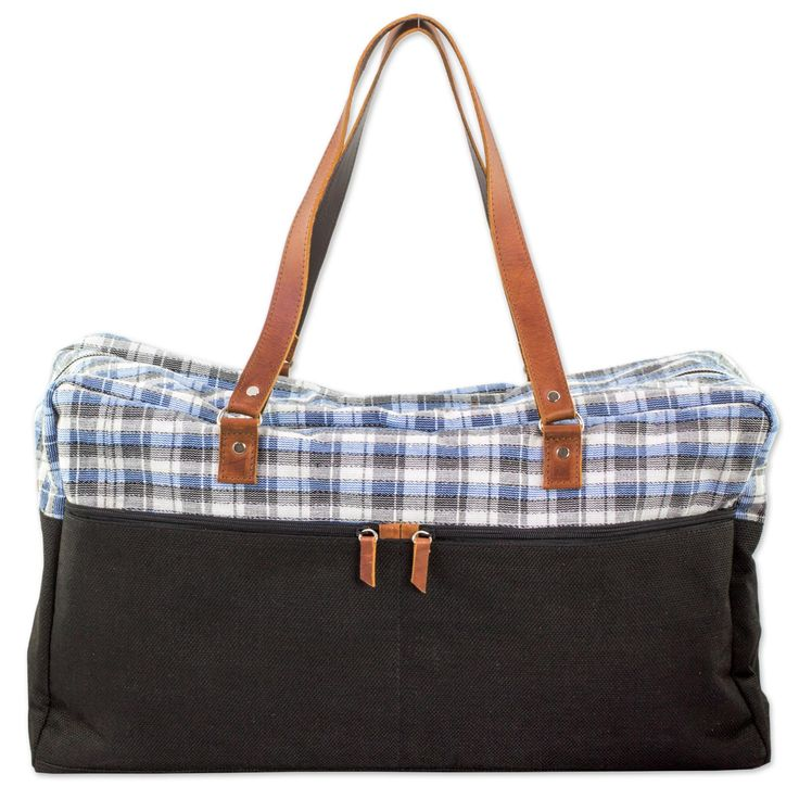 NOVICA Balck Cotton Blend and Leather Accent Travel Bag, 'World Discovery'