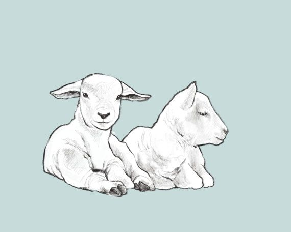 Nursery Animal Art Lamb Printable blue Baby Boy wall decor by CubsandKids on Etsy