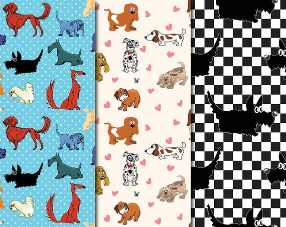 Digital Funny Dogs Seamless Paper Pack, 12 printable Digital Scrapbooking papers… – Products