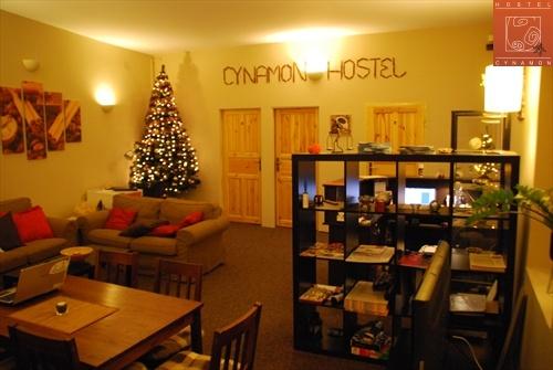 Recepcja z choinką w Hostelu Cynamon