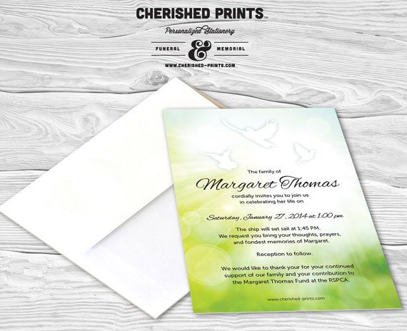 28 best Invitations, Announcements, and Mourning Cards images on - memorial service announcement template