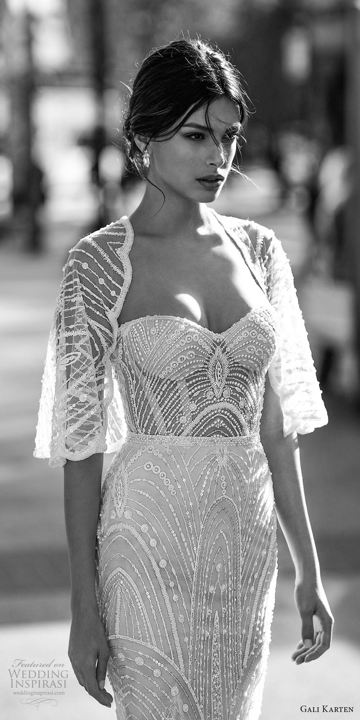 gali karten 2017 bridal strapless sweetheart neckline full beaded embellishment elegant sheath wedding dress with shrug sweep train (11) zv -- Gali Karten 2017 Wedding Dresses
