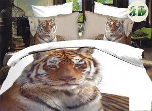 FRANCOUZSKÉ POVLEČENÍ s 3D efektem - Tiger on white