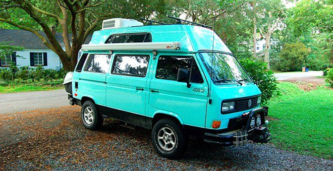 I have been searching for the perfect adventure vehicle for years. Pickup trucks with camper shells, SUVs, Sportsmobiles, pop-up trailers…none of them have been right for me. Then I discovered the Volkswagen Westfalia Syncro van. Forget everything you know about VW vans—this extremely rare model has a military-inspired chassis and full-time four-wheel-drive with locking differential. It sleeps four, has a fridge, sink, and stove, fits in the driveway, and will go anywhere.