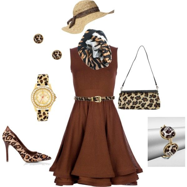 Brown dress with Animal Print Accessories, created by michelenixon on Polyvore