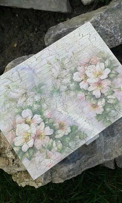 Vintage -Romance box.Box was painted then a crackle finish was applied then decoupage.Wooden box ideas gift for Weddings :) 35eur
