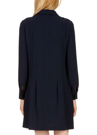fa3666502a9 Robe courte droite chemisier en crêpe Bleu by CLAUDIE PIERLOT ...