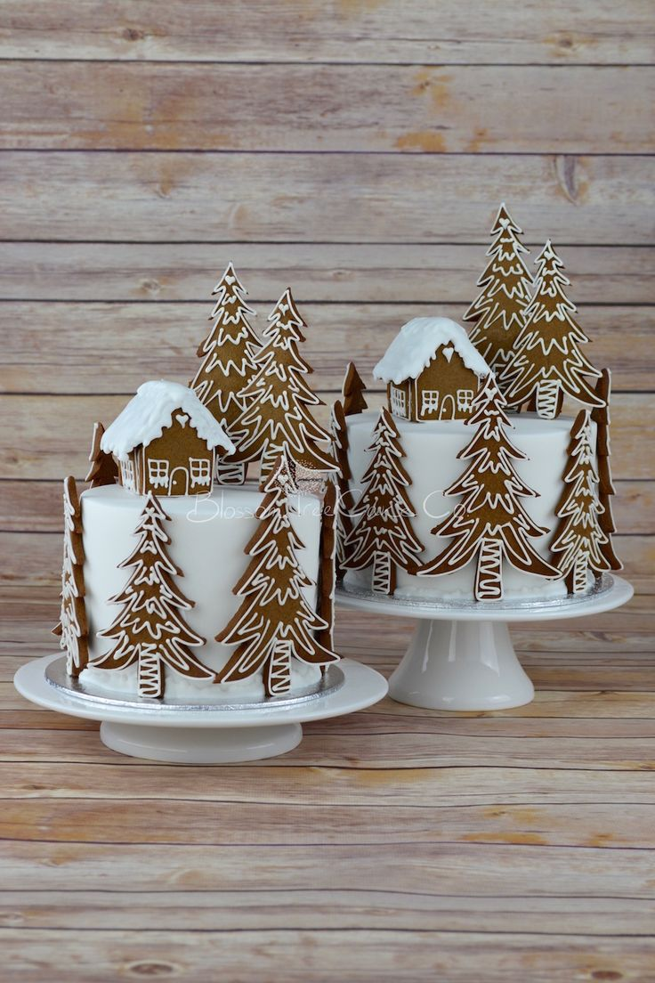 Gingerbread Forest House Christmas cake