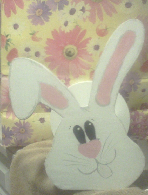 Wood Easter Basket  White Bunny by FrenchyDeesigns on Etsy, $10.00