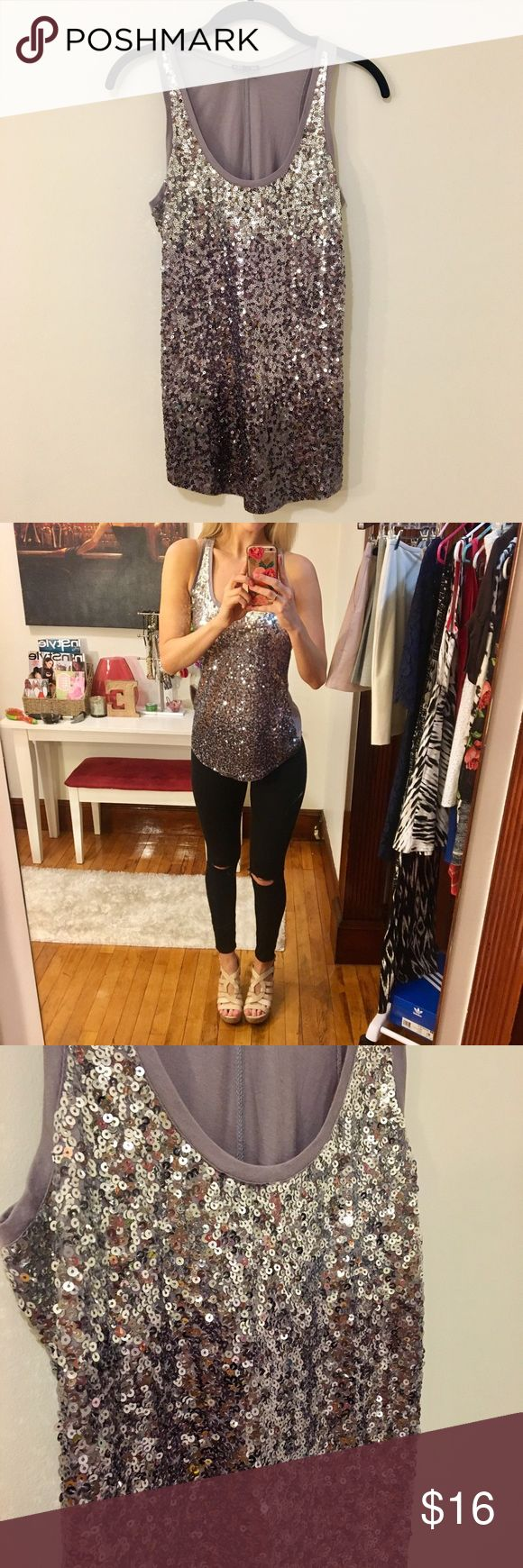 Purple Sequin Tank Top Fun light purple sequin top. Makes a great party or birthday outfit. Looks great with skinny jeans and wedges or heels. Express Tops Tank Tops