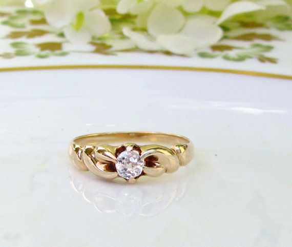 Antique Engagement Ring Old Mine Cut Diamond Belcher Buttercup Setting Twisted Braid 14K Yellow Gold Ring Antique Diamond Wedding Ring